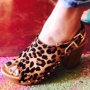 Shoes - Leopard Platform Slingback SANDALS
